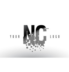 Nc n c pixel letter logo with digital shattered vector