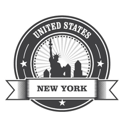 new york emblem with statue liberty vector image