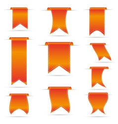 Orange hanging curved ribbon banners set eps10 vector