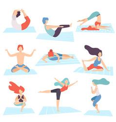 People in yoga positions set men and women vector