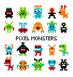 pixel invaders set vector image