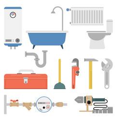 plumber flat set vector image