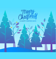 postcard happy winter days with fir-tree vector image
