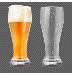 Realistic beer glasses empty mug and full vector