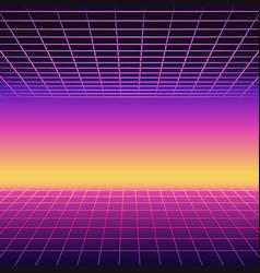 retro 80s futuristic design neon sunset vector image