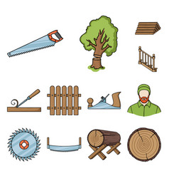 Sawmill and timber cartoon icons in set collection vector