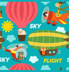 seamless pattern air transports with animals vector image