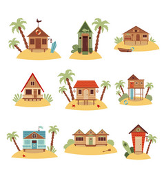 set different beach houses with palms cartoon vector image