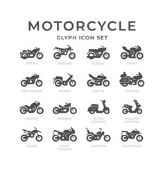 Set glyph icons motorcycle vector