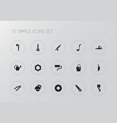 set of 15 editable tools icons includes symbols vector image