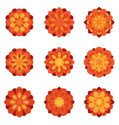 set of color flowers flat icons vector image