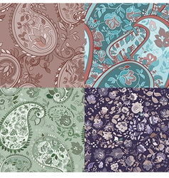 Set of paisley patterns vector