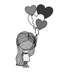 silhouette woman with heart shaped balloons vector image
