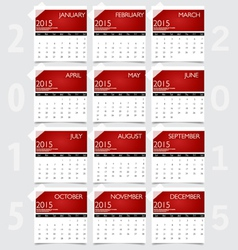 Simple 2015 year calendar vector image
