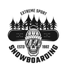 Snowboarding emblem with skull in hat ski glasses vector