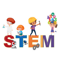 stem logo with kids in many education activities vector image
