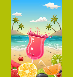 summer poster with fresh fruit and drinks vector image