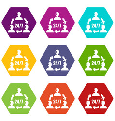 support 24 7 icons set 9 vector image