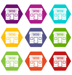 tattoo salon building icon set color hexahedron vector image