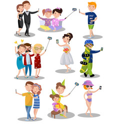trendy young people making selfie in different vector image