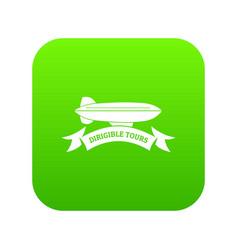 trip dirigible icon green vector image