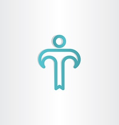 turkoise letter t man icon vector image
