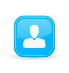 User icon blue square shiny button vector