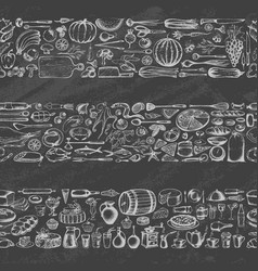 various foods on chalkboard vector image