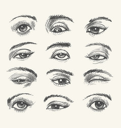 vintage eyes collection vector image