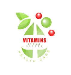 vitamins logo template original design pharmacy vector image