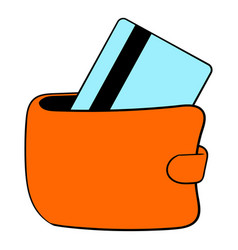 wallet with credit card icon cartoon vector image
