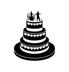 Wedding cake simple icon vector