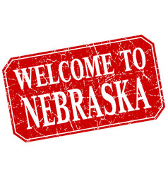 Welcome to nebraska red square grunge stamp vector
