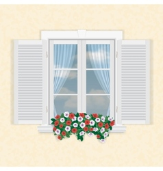 white window with shutters and flowers vector image