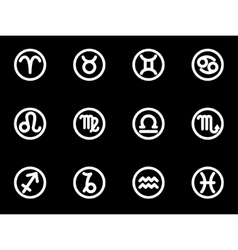 white zodiac symbols icon set vector image