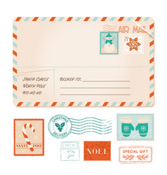 winter old invitation postal card vector image