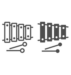xylophone line and glyph icon musical and vector image