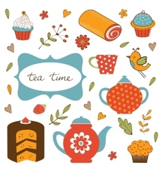 Colorful tea party set vector image