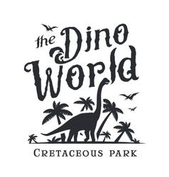 Dino world logo template dinosaur park logotype vector