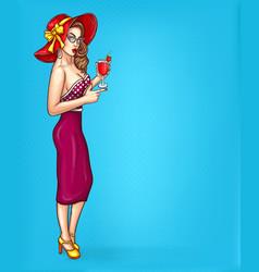 pop art pin up of a sexy girl vector image vector image