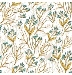 Seamless wildflowers pattern vector image
