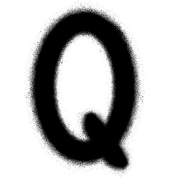 sprayed Q font graffiti in black over white vector image vector image