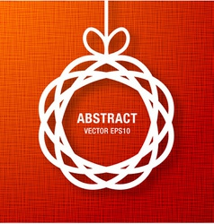Abstract Circle Paper Applique on Red Canvas Backg vector image