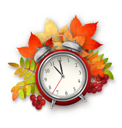Autumn Fall Leaves and Alarm Clock vector image vector image