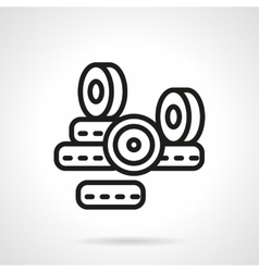 Black line longboard wheels icon vector image
