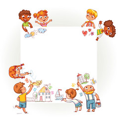 different children draw on large poster vector image vector image