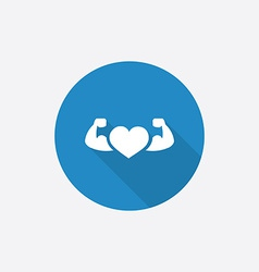 heart with muscle arms Flat Blue Simple Icon with vector image vector image
