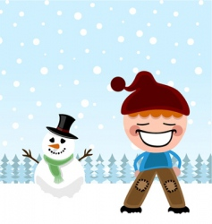 kid and snowman vector image