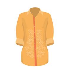 stylish orange shirt for women women dressed in vector image vector image