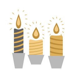 three burning candles in racks isolated on white vector image